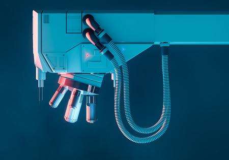 Large optical electron scanning microscope, concept art 3D illustration