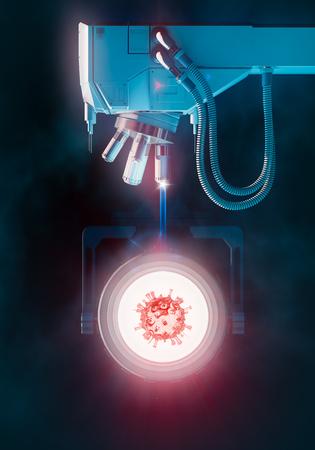 Microscope scanning a virus. Concept 3D illustration