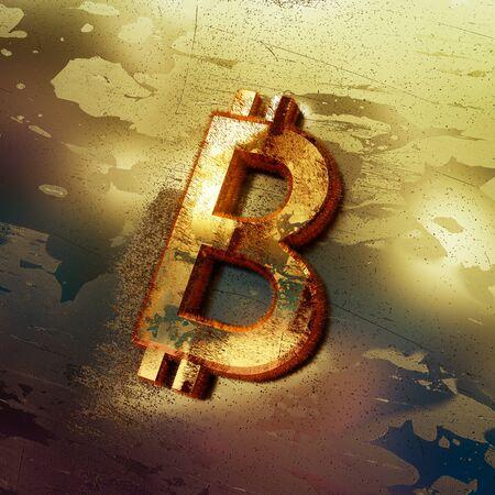 Bitcoin crypto currency symbol, risky threat