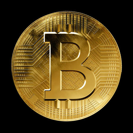 Bitcoin coin front view visualization isolated on black Stock Photo