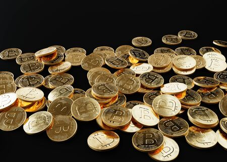 Realistic Bitcoin coins over black background Stock Photo