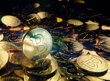 Crypto currency, Bitcoin stack of golden coins Stock Photo