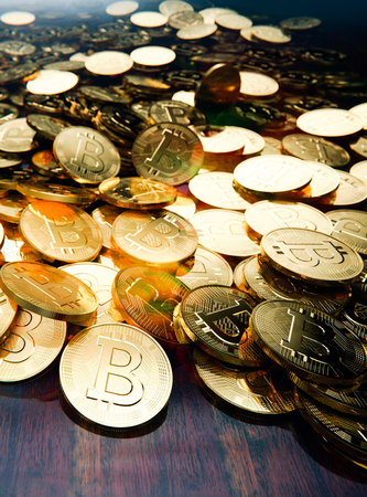 Bitcoin boom, stack of golden coins scattered on table, 3D illustration