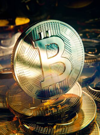 Spotlight on Bitcoin, heap of  golden coins, 3D illustration