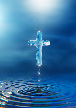 Christian holy water cross , blue miracle religious concept