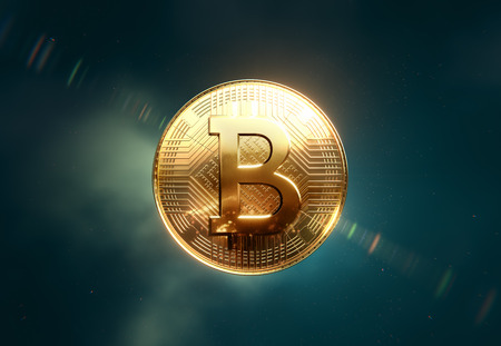 Golden Bitcoin coin, front view in space, dark green background Stock Photo