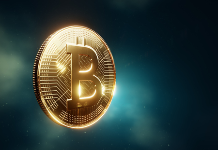 Bitcoin coin visualization, side view in a cloudy space