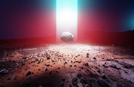 Un rayo de fuente de energía desconocida procedente del cielo y una roca levitando en Marte