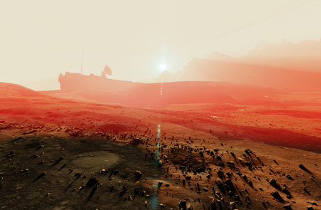 Mars misty sunset landscape, space base radar dish Stock Photo