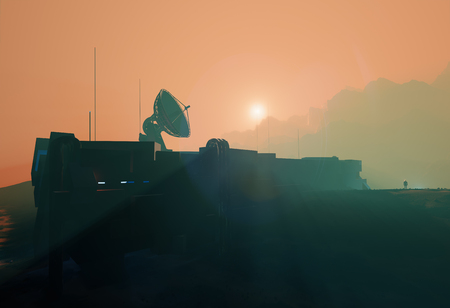 Space base radar dish in planet Mars misty sunset