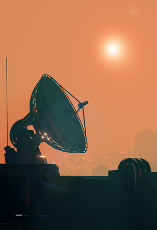 Satellite antenna dish close up. Space base on Mars Stock Photo