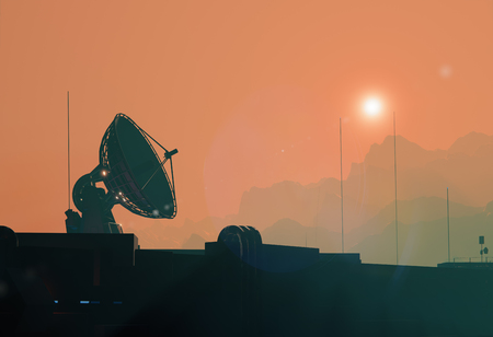 Satellite antenna dish silhouette of the space base on Mars
