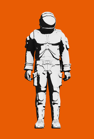 Space suit for extravehicular activity. Black and white astronaut