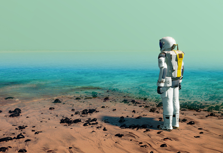 Astronaut at the beach, wearing a space suit on Mars