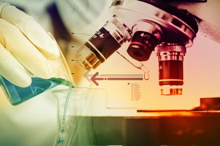 in vitro: Scientists and scientific experiments to find out about the medical science or the scientific unit . The colors and scientific equipment beakers vitro microscopy .