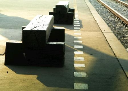 wood railroads: DIY Chair with railway station Stock Photo