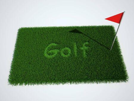 flad: Lawn with inscription golf