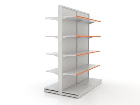 Empty shop shelves isolated on white Stock Photo - 12428650
