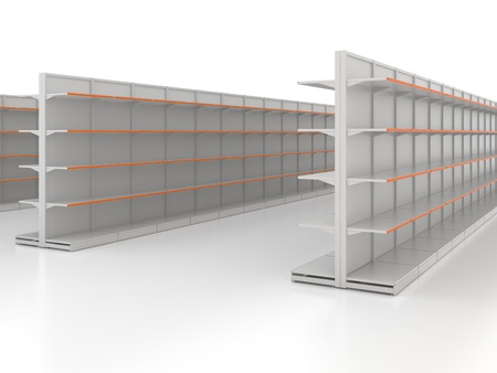 Empty shop shelves isolated on white Stock Photo - 12428652