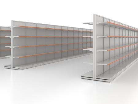 Empty shop shelves isolated on white Stock Photo - 12428652
