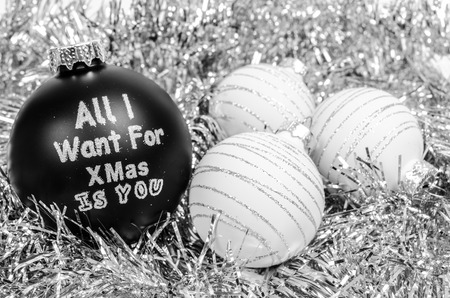 White and black crhistmas balls - all i want for christmas is you 스톡 콘텐츠