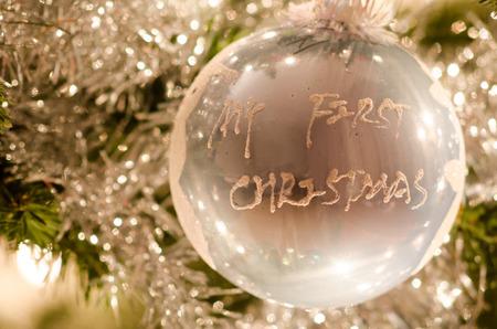Christmas tree ball -My first Christmas (boy) 스톡 콘텐츠