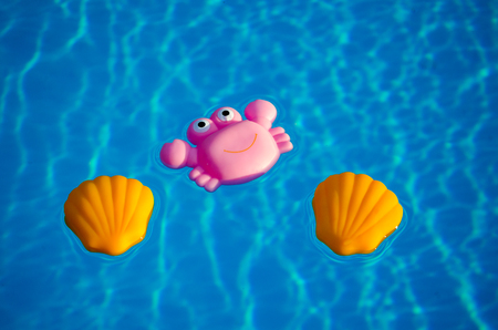 Rubber toys in the swimming pool