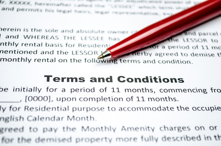 Terms and conditions with red pen