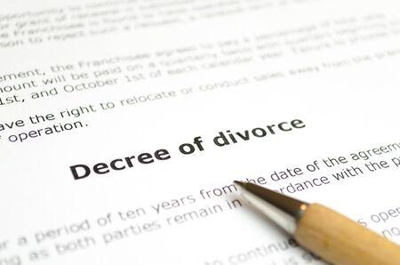 Decree of divorce with wooden pen