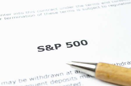 SP 500 stock index with wooden pen