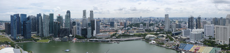 Singapore City, Singapore, August 8, 2017: Panorama of Marina Bay and the city of Singapore taken from a high vantage point