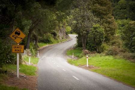 Gravel road in New Zealand Stock Photo