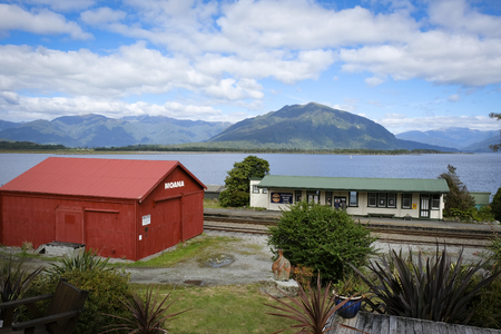 Moana Train Station next to beautiful Lake Brunner, South Island, New Zealand