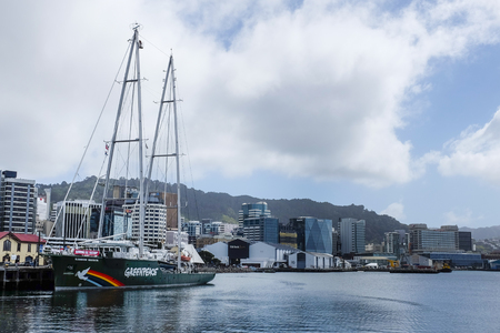 Greenpeace Rainbow Warrior III in Wellington Harbour 26th September 2018 Editorial