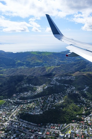 New Zealands North Island, aerial view from commercial airplane inlcuding segement of aircrafts wing