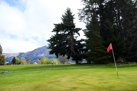 Golf green in Glenorchy, South Island, New Zealand Stock Photo