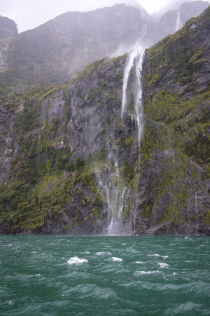 View from boat on Milford Sound, New Zealand Stock Photo