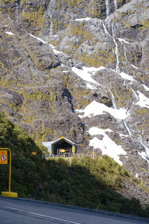 Homer Tunnel entrance on State Highway 94, the road to Milford Sound in New Zealands Fjordland National Park. Stock Photo