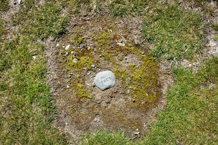 No fires written on a rock at a campsite in Fjordland National Park New Zealand Stock Photo