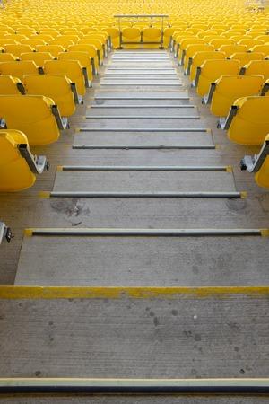 Wellington New Zealand 13th April 2019. Yellow seating at Westpac stadium Editorial