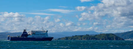 Wellington Harbour, New Zealand 25th April 2021. Bluebridge Ferry, New Zealand Editorial