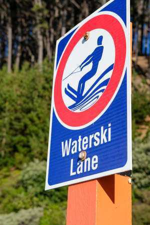 Sign marking a Waterski lane in Wellington harbour Stock Photo
