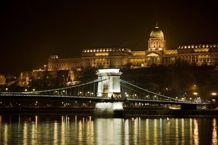 night photography of bridge over Danube in Budapest
