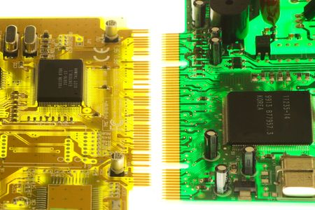 green and yellow electronic board illuminated from bottom Stock Photo