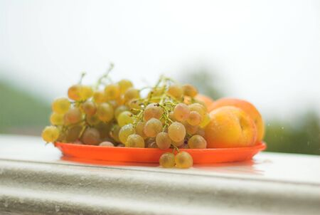 Grapes and peaches on the plate Stock Photo