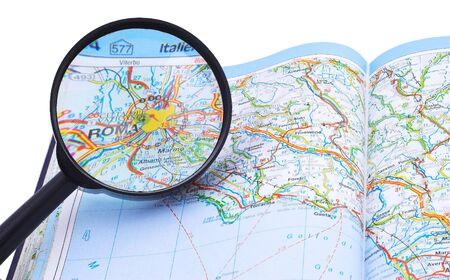 Magnifying glass over the map, focusing on Rome