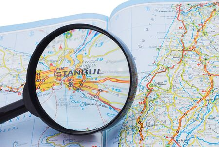 Map of Turkey and the magnifying glass focused on Istanbul Stock Photo