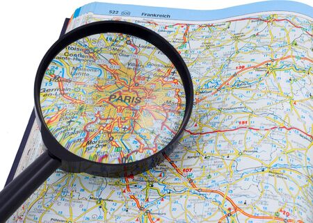 PARIS - FRANCE MAP under magnifying glass on open book Stock Photo - 5280786