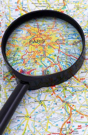 PARIS - FRANCE MAP UNDER LOUPE
