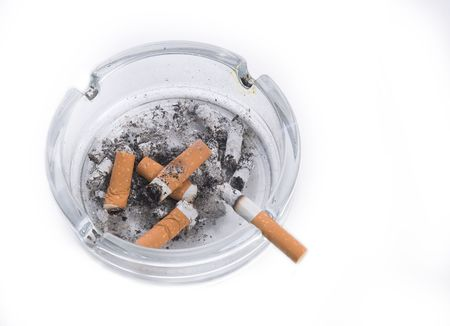ashtray: ashtray with cigarette butts